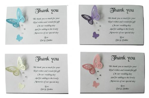 Thank You Gift Cards Wedding  Engagement  Anniversary Personalised Butterfly x 10